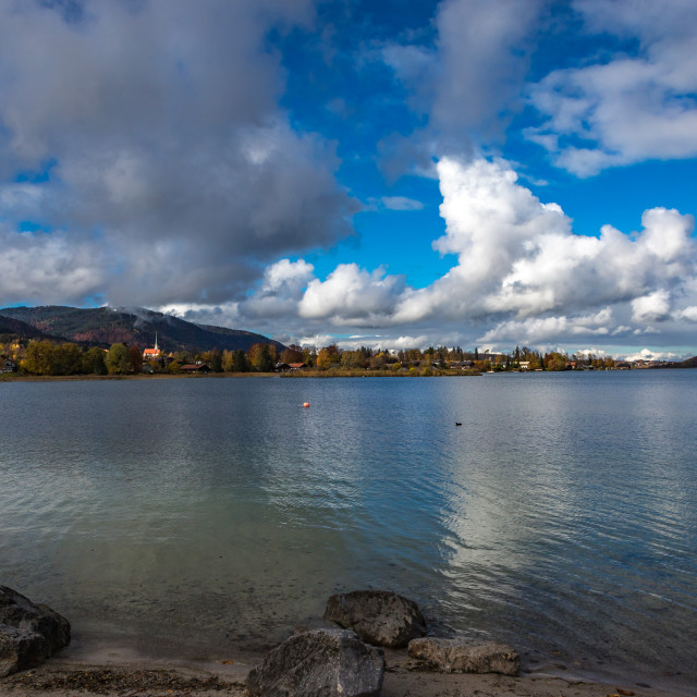 """""""View to the north on the Tegernsee"""" stock image"""