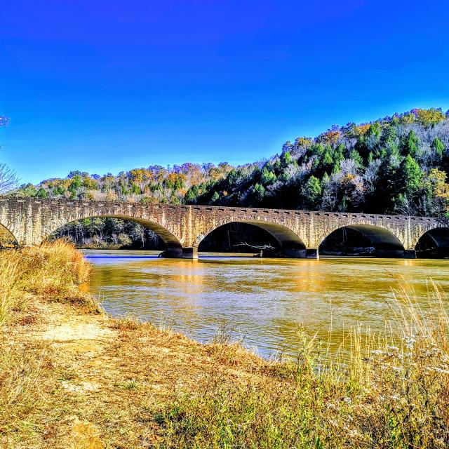 """Cumberland Falls Bridge"" stock image"