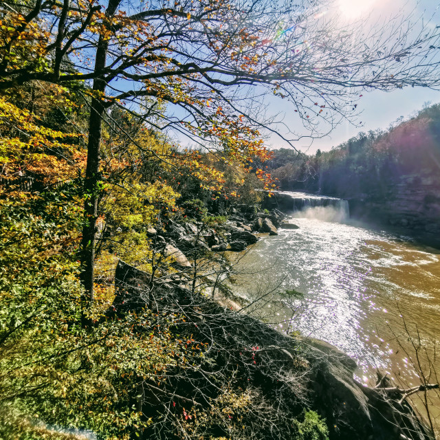 """""""Cumberland Falls at a Distance in the fall"""" stock image"""