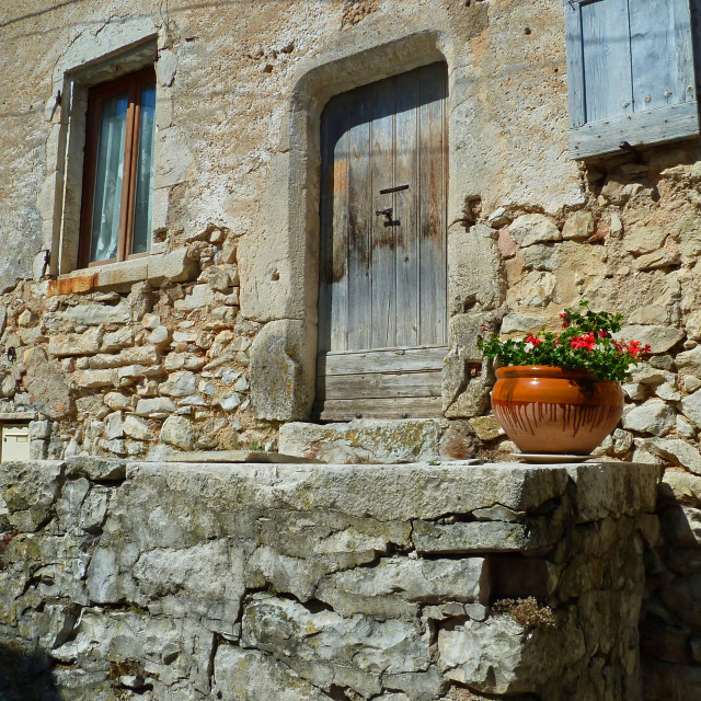 """Banon Provence street scene in the old town"" stock image"