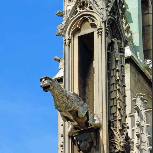 """Gargoyle on Notre Dame Cathedral Paris France"" stock image"