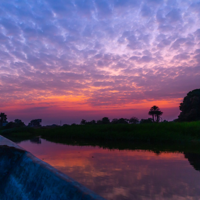 """Sunset over the river Nile, Central Equatoria, Terekeka, South Sudan"" stock image"
