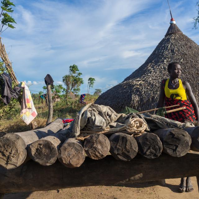 """Mundari tribe woman in her village, Central Equatoria, Terekeka, South Sudan"" stock image"