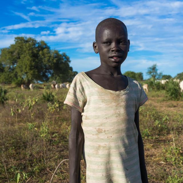 """Portrait of a Mundari tribe boy, Central Equatoria, Terekeka, South Sudan"" stock image"