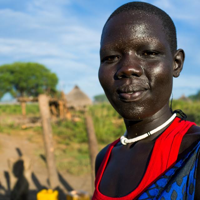 """Portrait of a Mundari tribe woman, Central Equatoria, Terekeka, South Sudan"" stock image"