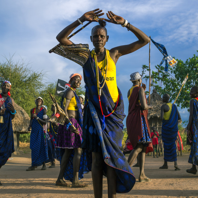 """Mundari tribe women dancing during a wedding, Central Equatoria, Terekeka,..."" stock image"