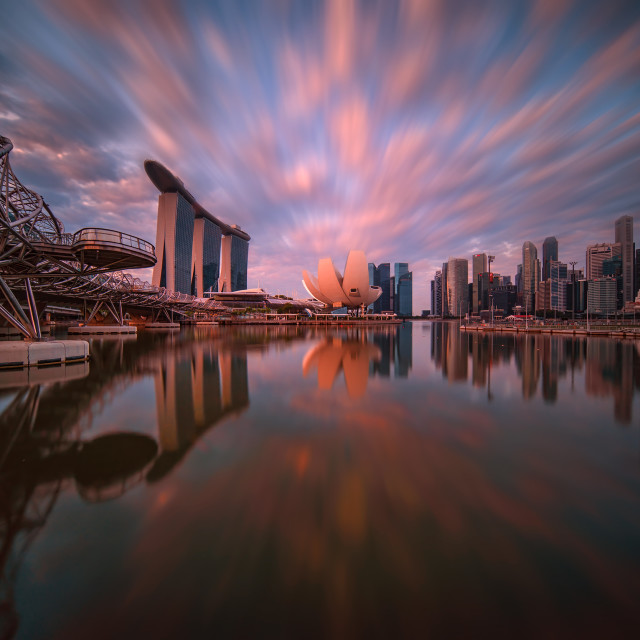 """Sunrise over MBS"" stock image"