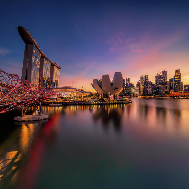 """""""Singapore skyline at dusk"""" stock image"""
