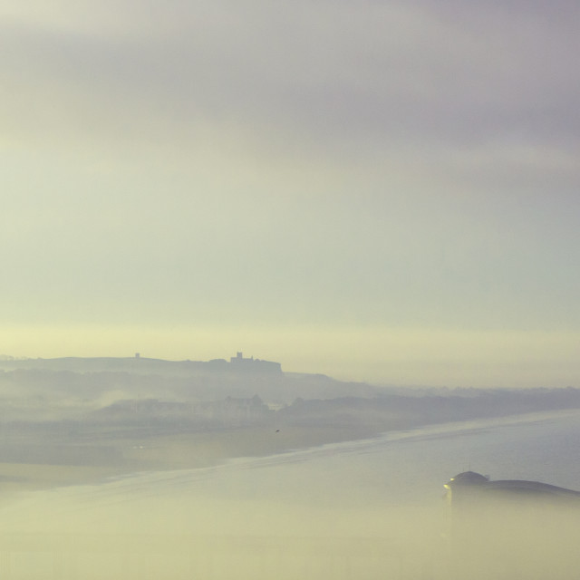 """""""Weston Super Mare Pier emerging from the mist Somerset England"""" stock image"""