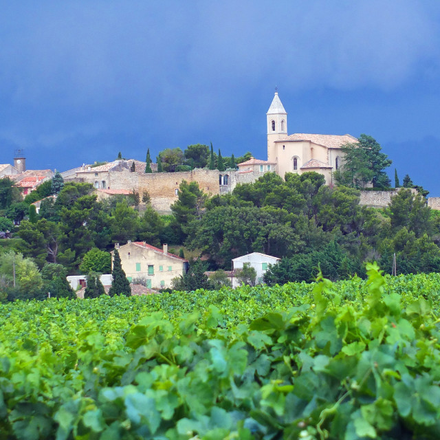 """""""View of village of Cairanne Provence France"""" stock image"""