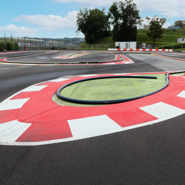 """""""Motor sport game circuit for models racing track turn and curb"""" stock image"""
