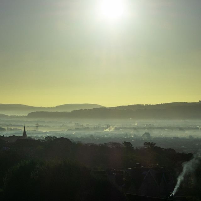 """Sunrise over Weston Super Mare Somerset"" stock image"