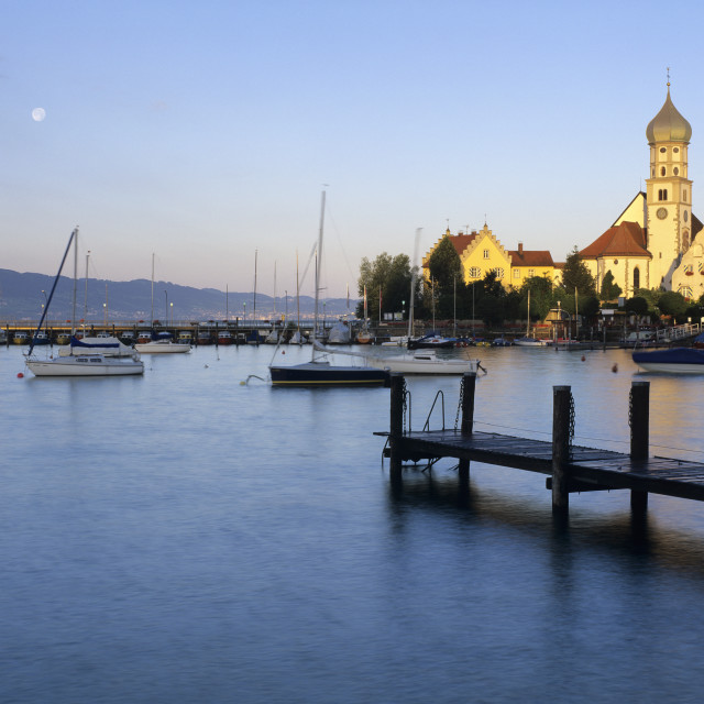 """""""Church of Saint George on Lake Constance at sunrise, Wasserburg am Bodensee,..."""" stock image"""