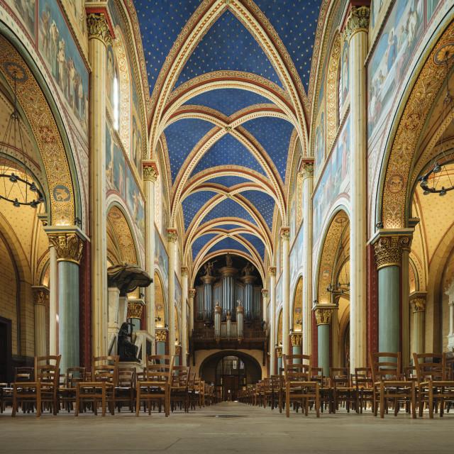 """""""Interior of Benedictine Abbey of Saint-German-des-Prés, Paris,..."""" stock image"""