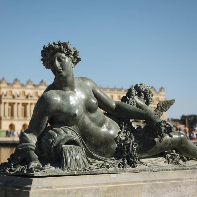 """""""Marble Statue, Gardens, Palace of Versailles, Paris, Île-de-France, France,..."""" stock image"""