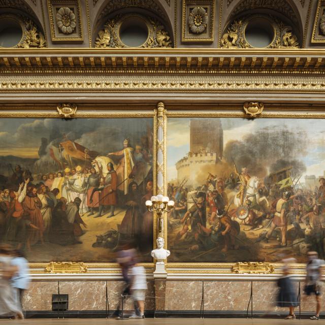 """The Battles Gallery, Palace of Versailles, Paris, Île-de-France, France, Europe"" stock image"