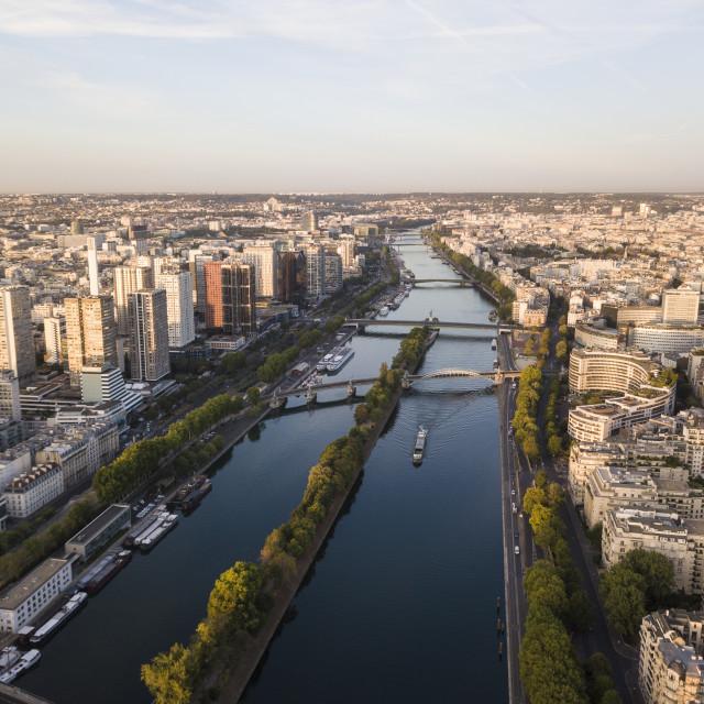 """""""River Seine at dawn, Paris, Île-de-France, France, Europe"""" stock image"""