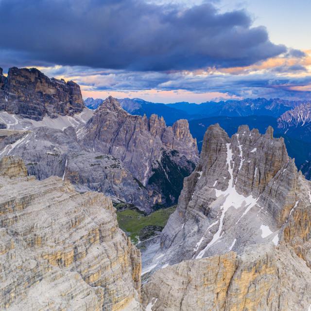 """""""Croda dei Toni, Cima dell'Agnello and Campanili del Marden after sunset,..."""" stock image"""