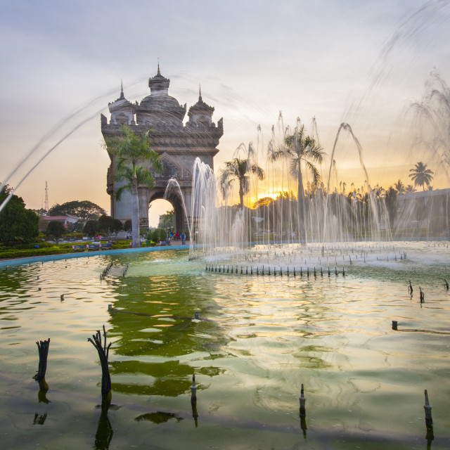 """""""Patuxai (Victory Gate), a war monument, in Vientiane, Laos at sunset."""" stock image"""