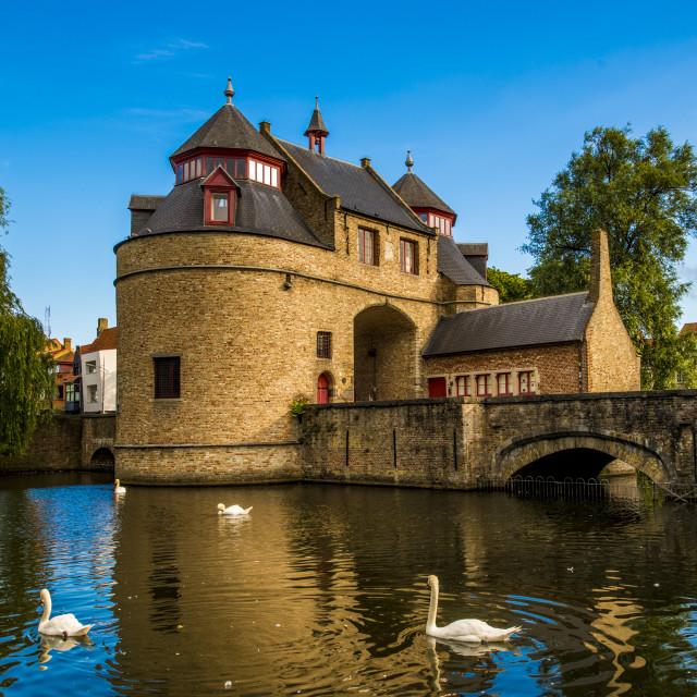 """Ezelpoort or Donkey's gate, fortified gate, Bruges, West Flanders, Belgium."" stock image"