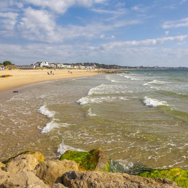 """View of Sandbanks Beach in Poole Bay, Poole, Dorset, England, United Kingdom,..."" stock image"
