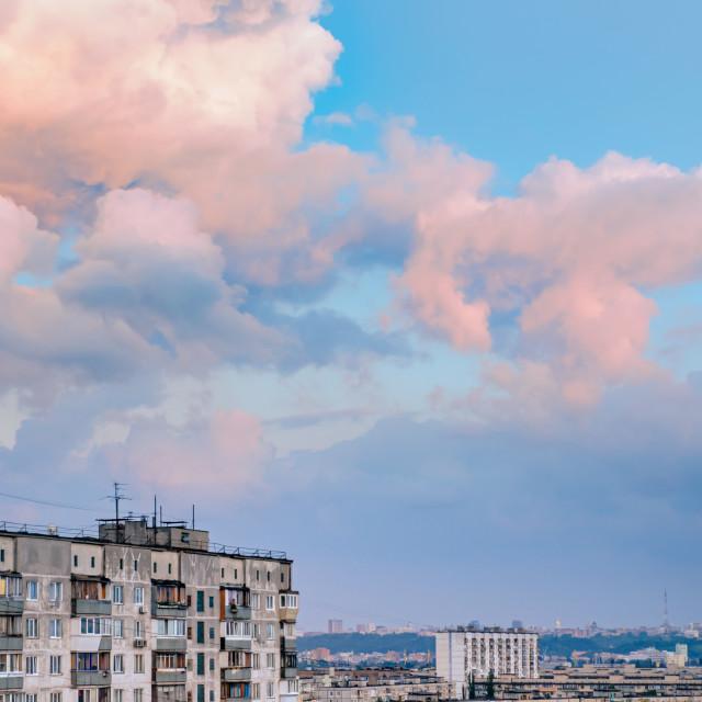 """High buildings in the Obolon district of Kiev"" stock image"