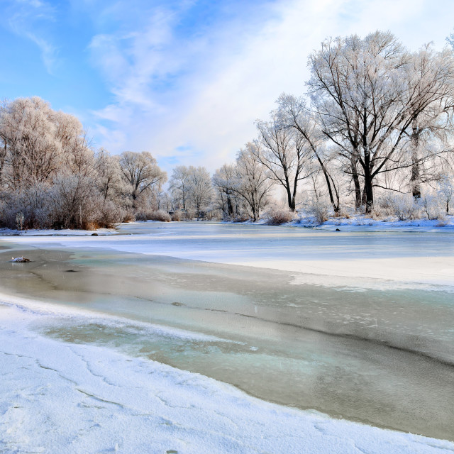 """""""Frozen Water, Snow and Ice on the Dnieper River"""" stock image"""
