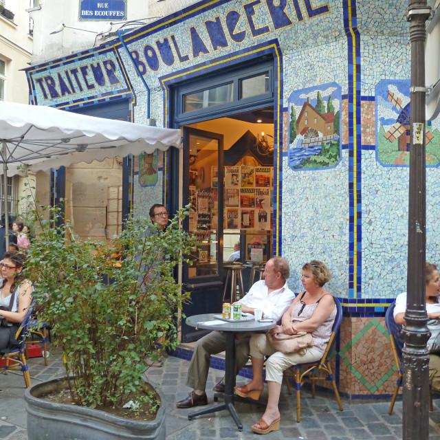 """A break for coffee Marais Paris France"" stock image"