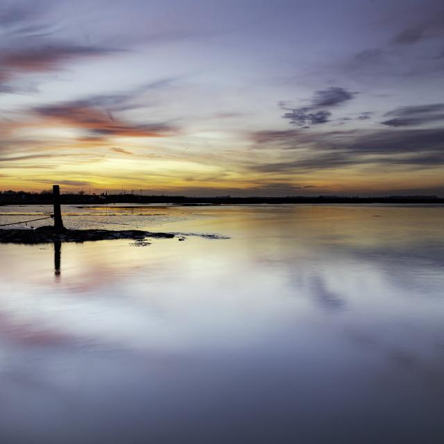 """River Deben Winter Sunset Reflections"" stock image"