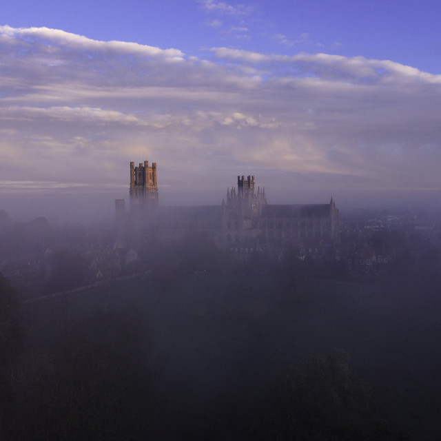 """""""Dawn over a misty Ely Cathedral, 5th November 2020"""" stock image"""