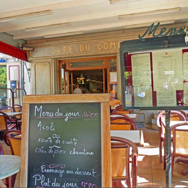 """""""Cafe du Commerce Forqualquier Provence France"""" stock image"""