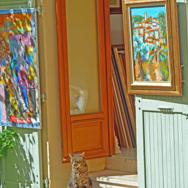 """""""Cat guarding an artist studio in Mougins Provence"""" stock image"""