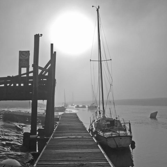 """Early morning mist on Axe Estuary Somerset"" stock image"