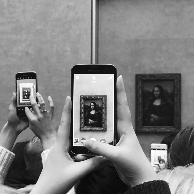 """""""Mona Lisa portrait at the Louvre Museum"""" stock image"""