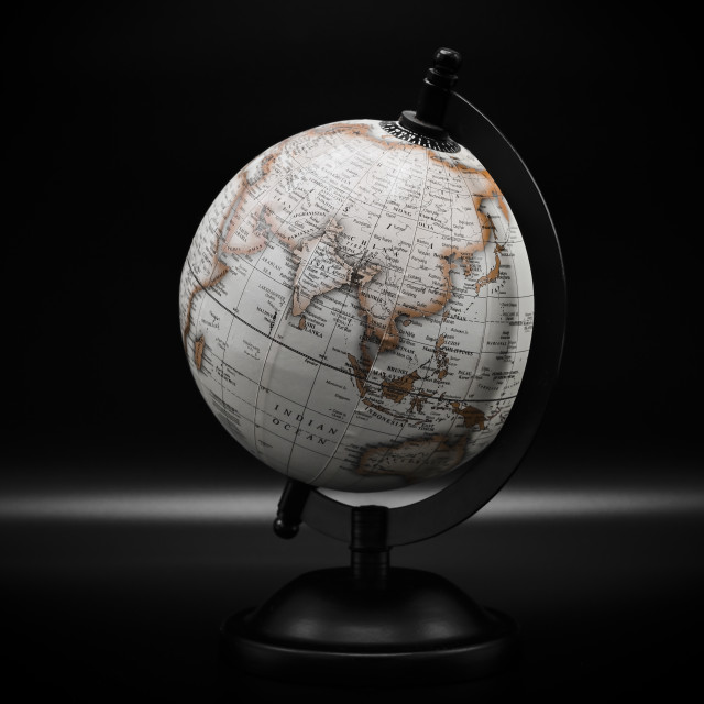 """""""Planet Earth globe on a black background"""" stock image"""