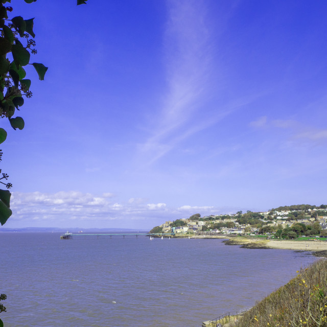 """""""Clevedon Somerset from Poets Walk"""" stock image"""