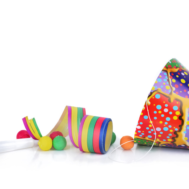 """""""colorful items for event celebration isolated on white background"""" stock image"""