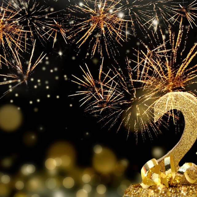 """""""2021 golden figures standing glitters in firework in the night"""" stock image"""