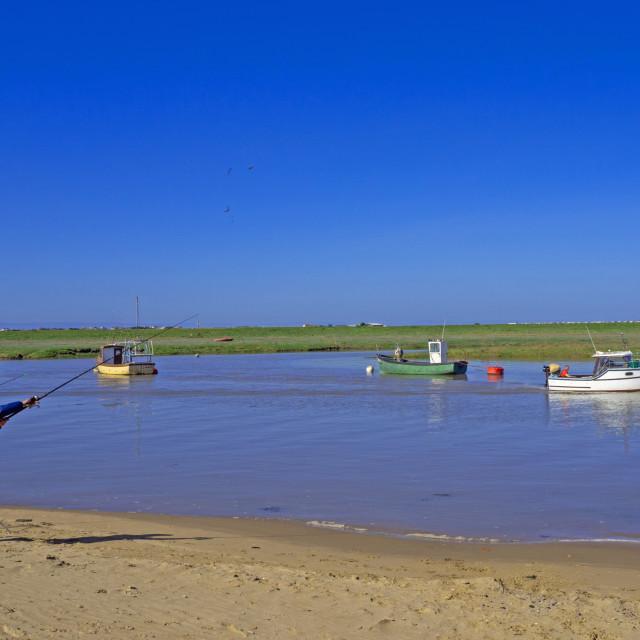 """Fishing on Axe Estuary Weston Super Mare"" stock image"