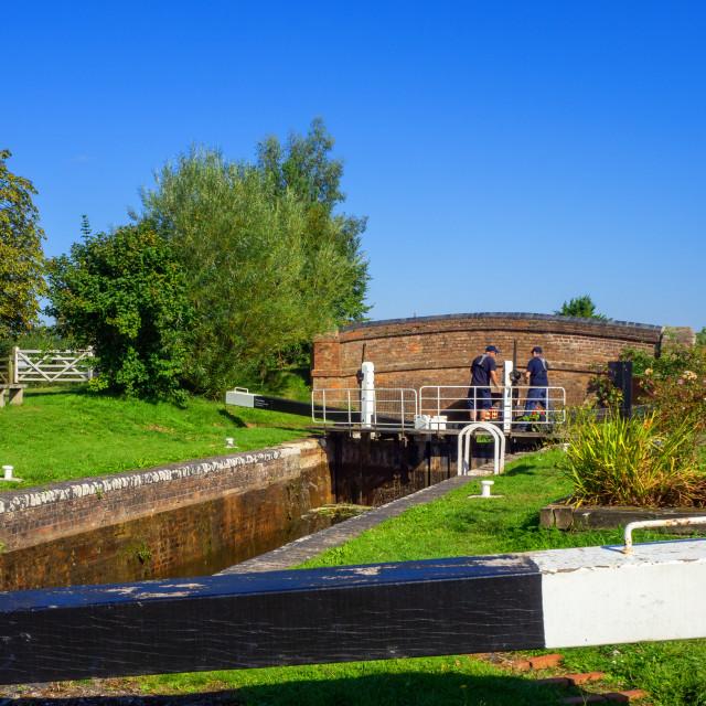 """""""Maunsel Lock Bridgewater Taunton Canal Somerset"""" stock image"""