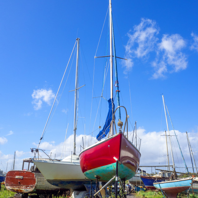 """""""Boats in dry dock Uphill Boatyard Somerset"""" stock image"""