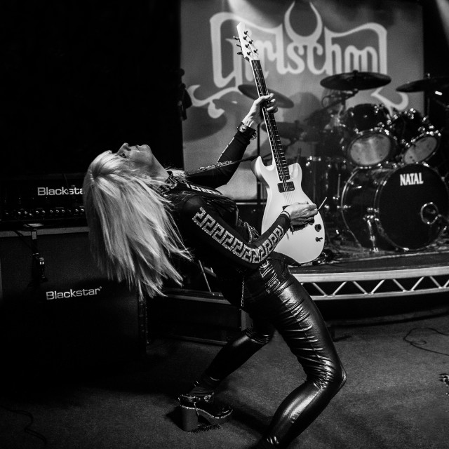 """Jackie Chambers of Girlschool Action Live"" stock image"