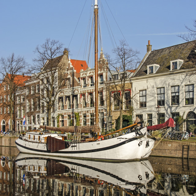 """""""White barge in Dutch canal"""" stock image"""