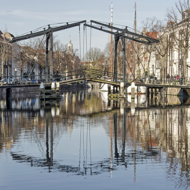 """""""Bridge across downtwon canal"""" stock image"""