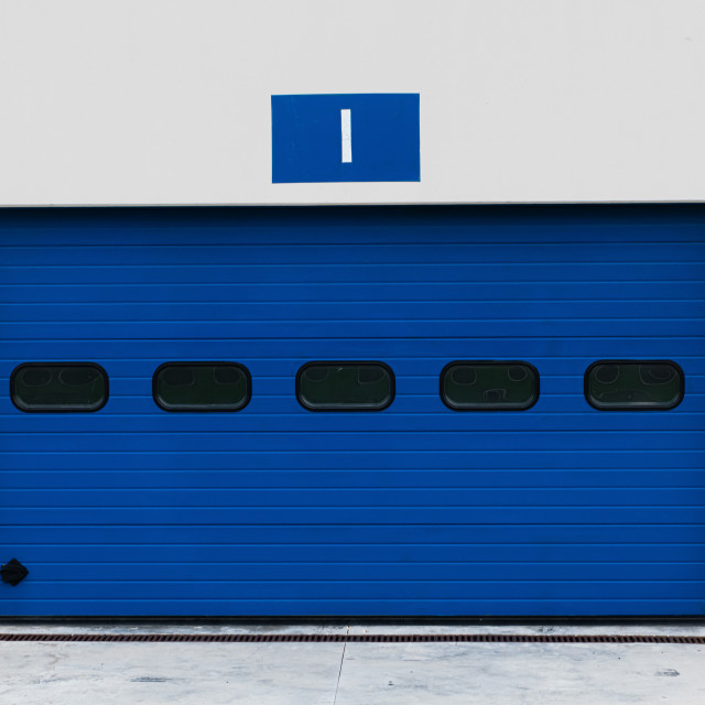 """""""Closed motor sport paddock number one box front view"""" stock image"""
