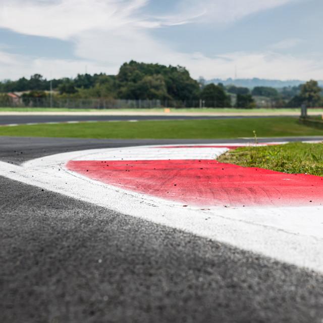 """Motor sport circuit asphalt track background curb close up on st"" stock image"