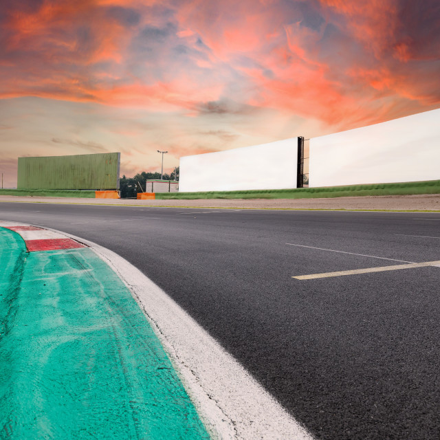 """Motorsport background empty circuit asphalt track turn"" stock image"