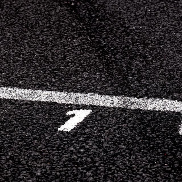 """Number one position in competition sign on asphalt track close u"" stock image"