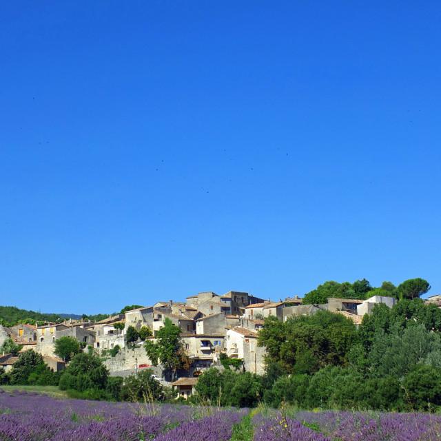 """Moonrise over Cereste Provence France"" stock image"