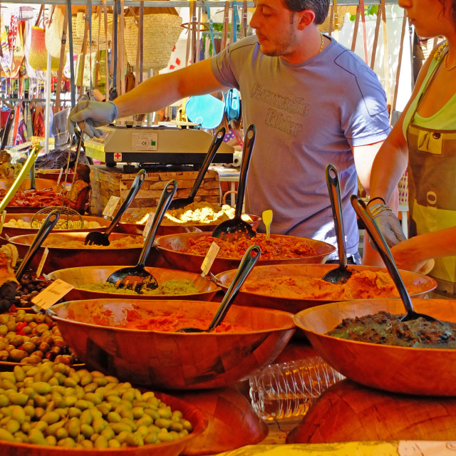 """""""Olive stall on the market at Forcalquier Provence"""" stock image"""
